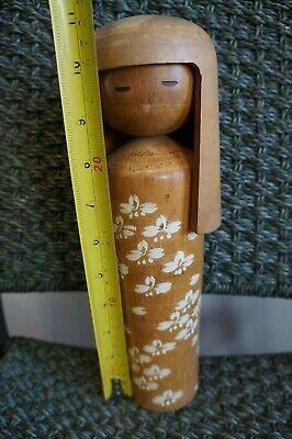 """VINTAGE JAPANESE KOKESHI DOLL HANDMADE SOLID WOOD 11"""""""