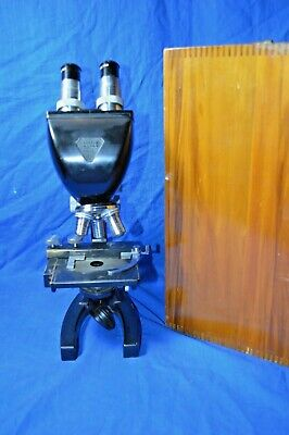 Vintage- Bausch Lomb Binocular Microscope With Wood Case