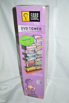 NW CASE Logic DVD CD Tower RACK Storage METAL Frame WOOD Base Contemporary SLEEK