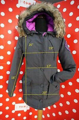 SUPERDRY RESCUE BLACK sz 2XS Parka puffer Coat down Fur Hood women XXS