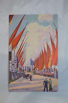 1933 World's Fair Century of Progress Avenue of Flags Postcard