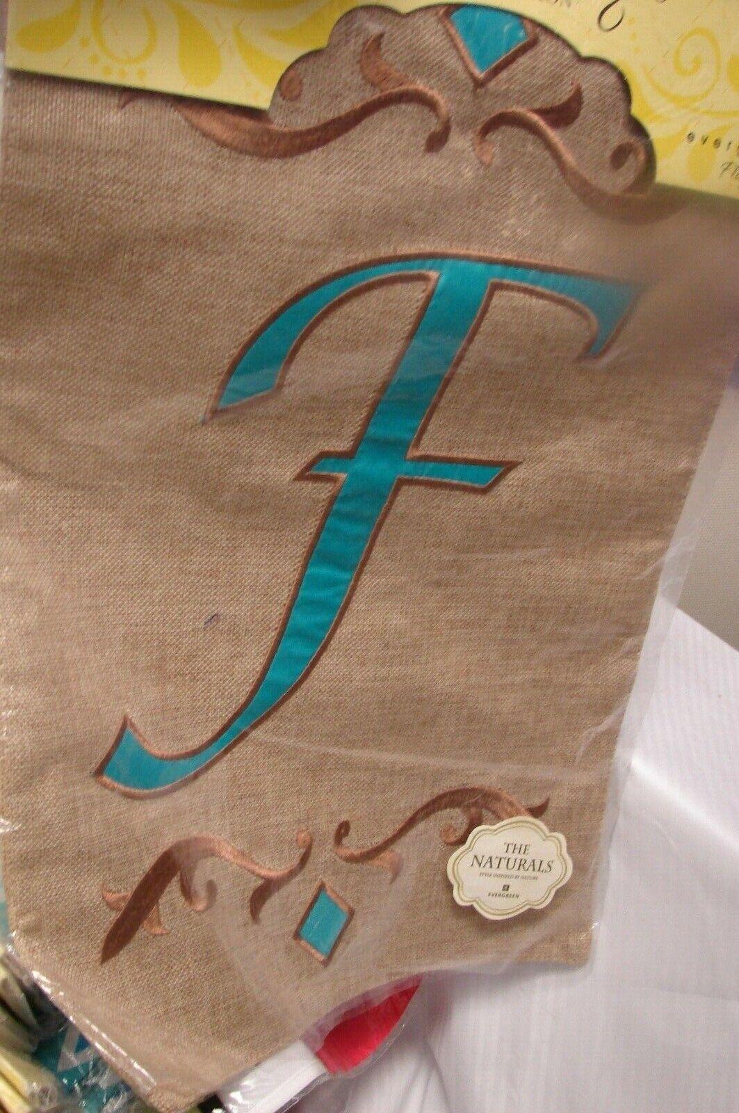 """Monogram Letter F Garden Flag evergreen Burlap 12.5"""" x 18"""""""
