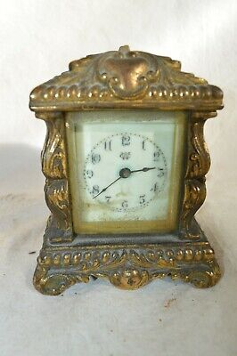 ANTIQUE 1891 WATERBURY REPEATING CARRIAGE CLOCK GOLD ORNATE CASE BELL STRIKE