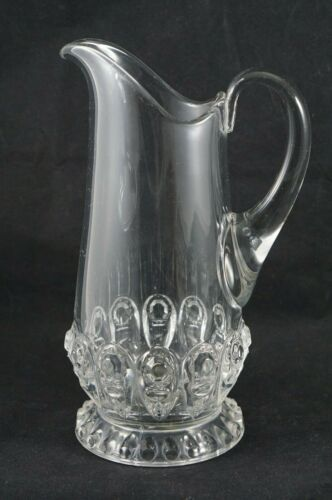 Mold Blown Antique Glass Pitcher with Applied Handle Early 1900s/Late 1800s