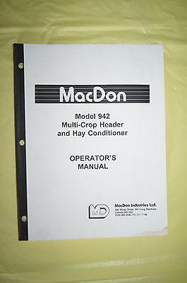 Macdon Model 942 Multi Crop Header Hay Conditioner Operators Maual Canada