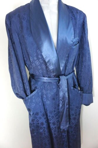 30s 40s VTG ~ FAB Deco Patterned ~ Blue Swanky Rayon Robe ~ M  L ~ Dandy ~As Is
