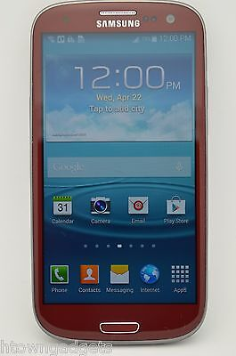 Samsung Galaxy S3 SGH-I747 16GB RED AT&T UNLOCKED GSM TMOBILE METRO PCS SIMPLE (Samsung Galaxy 3 Tmobile Handy)