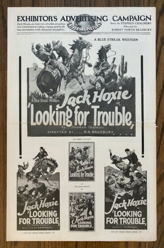 *LOOKING FOR TROUBLE (1926) Jack Hoxie Lost Silent Film Western PB + CUE SHEET