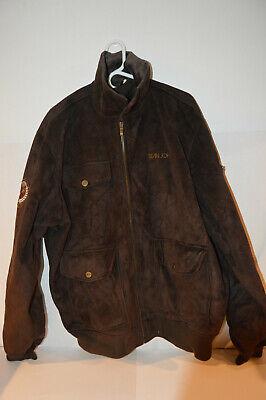 Sean John Men Coat / Jacket XXL Brown Micro Suede Fabric Lining Inside Lined Microsuede Jacket
