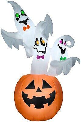 7' Gemmy Airblown Inflatable Halloween Ghost Trio in Jack-O-Lantern 225263