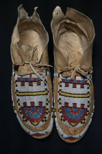 Antique Cheyenne Beaded Boy Mocassins - Native American