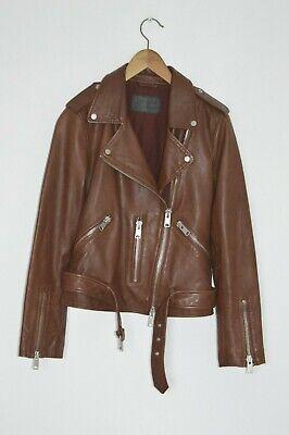 *WOW* AllSaints Ladies Oxblood BALFERN Leather Biker Jacket UK12 US8 EU40 moto