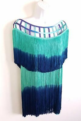 Fringe Flapper Dress Costume Gatsby Shift L XL Turquoise Hippie Handmade Unique  - Unique Costumes