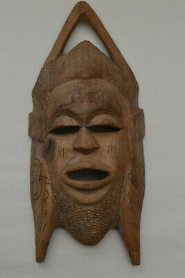 Vintage Hand Carved Australasian Wooden Ethnic Tribal Face Mask Wall Art .
