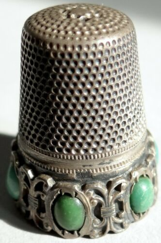 Antique Sewing Thimble 800 Silver 6 Jade Cabochon German Gabler Lothhammer Vtg