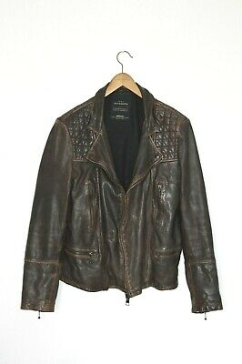 **AWESOME SAUCE* AllSaints Mens Quilted CARGO Leather Biker Jacket MEDIUM Brown