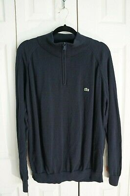 Men's Lacoste 100% Cotton Long Sleeved Blue Collared 1/2 Zip Sweater sz. 6