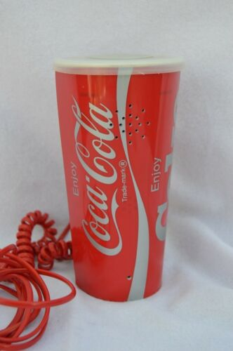 Vintage Coke Coca Cola push button dial corded phone soda cup w/ lid telephone