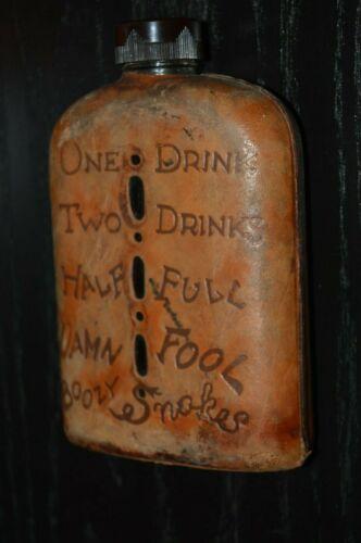 "Nice Vintage DRUNK ""Boozy Snakes"" Leather & Glass Liquor Flask Tuscon AZ Rare"