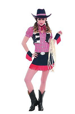 Cowgirl Rawhide Cowboy Costume Ladies Western Fancy Dress Womens Outfit 14-16