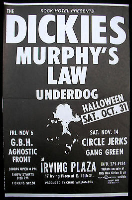 DICKIES Irving Plaza NEW YORK 1987 CONCERT POSTER Murphy's Law HALLOWEEN PUNK](Police Halloween Poster)