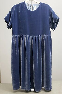 CLEAN! IL GUFO GIRLS Slate Blue Silk Blend Crushed Velvet Dress AS IS ITALY 10