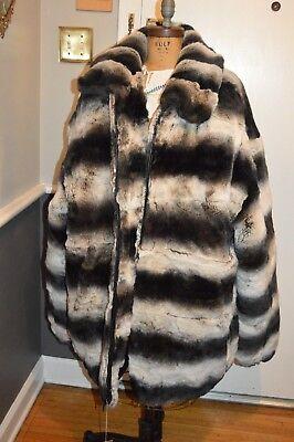 nwt men's black gray rex rabbit chinchilla coat jacket 4x---- 52in chest (Chinchilla Coats Men)