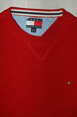 Tommy Hilfiger Men's Pullover Sweater 100% Cotton Red Size XL Crew Neck EUC