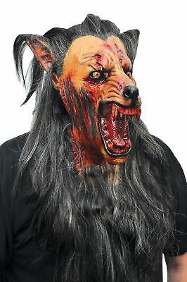 Brauner Wolf Latex Maske mit Haaren Werwolf Erwachsene Halloween Tier Kreatur Wolf-latex-maske