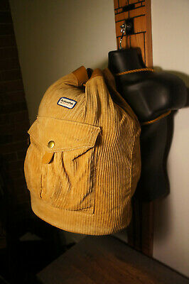 True Vintage Samsonite Actionpak Corduroy & Leather Trim Top Load Rucksack Bag