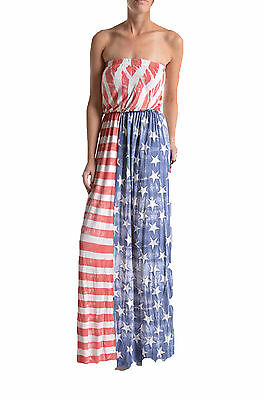 T-PARTY Vintage Red White & Blue Strapless American Flag Maxi Dress New