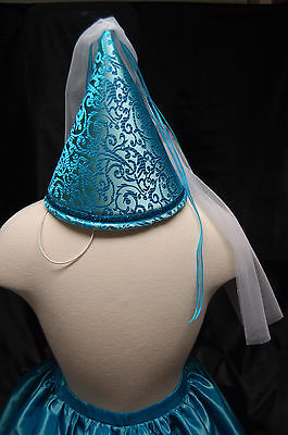Children's Dress Up Princess Cone Hat, aqua blue/metallic NEW costume](Princess Cone Hat)
