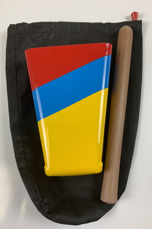 Hand Held Cowbell Painted Colors Of Colombia Ecuador & Venezuela Flags With Bag