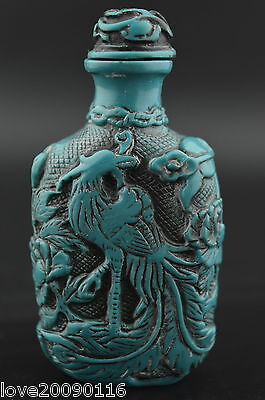 Decorated Wonderful Turquoise Carving Noble Phoenix Rare Lucky Snuff Bottle