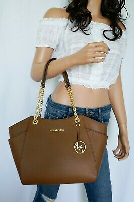 Michael Kors Luggage Leather - NWT MICHAEL KORS JET SET TRAVEL LARGE CHAIN SHOULDER LEATHER TOTE BAG LUGGAGE