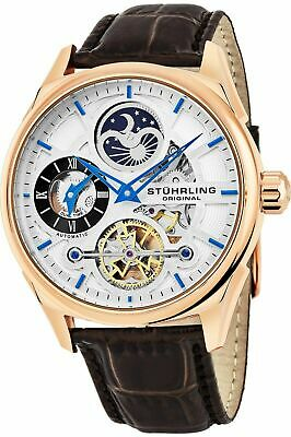 Stuhrling 657.04 Delphi Automatic Dual Time AM PM Indicator Mens ROSE GOLD Watch