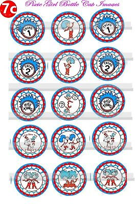 Thing 1 & Thing 2  Dr Seuss Cat Hat 15 Precut Bottle Cap Images Cup Cake toppers (Dr Seuss Cupcakes)