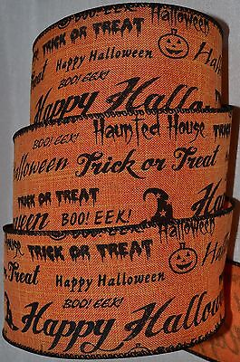 Wired Ribbon~Orange~Halloween Sayings~Trick or Treat~Haunted - Halloween Treat Sayings