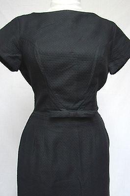 1950s Vintage VICKY VAUGHN TEXTURED LITTLE BLACK WIGGLE COCKTAIL DRESS