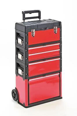 Werkzeugkasten Trolley Werkzeugtrolley METALL Kunststoff Werkstattwagen in rot