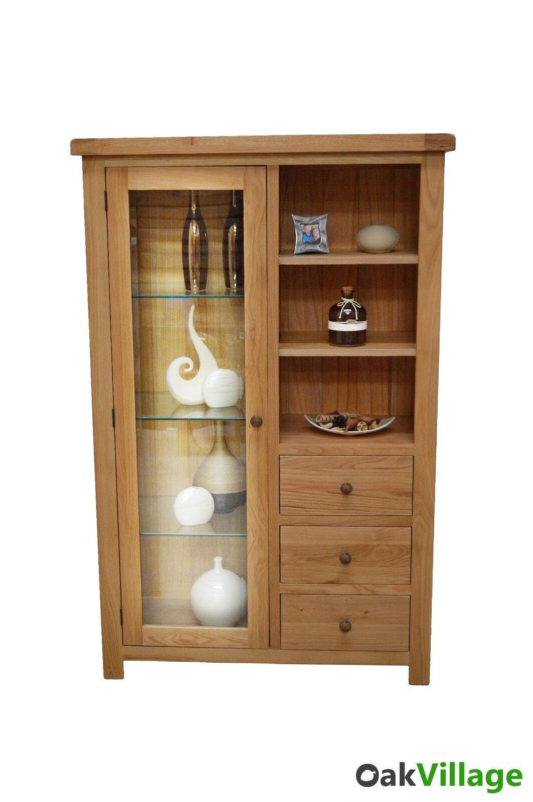 Details About Oak Display Cabinet Glass Doors Storage Display Shelves Living New Esher