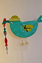 METAL ART Teal Fishing Heron CLOCK Recycle Metal with Pendulum ships in 24 hrs