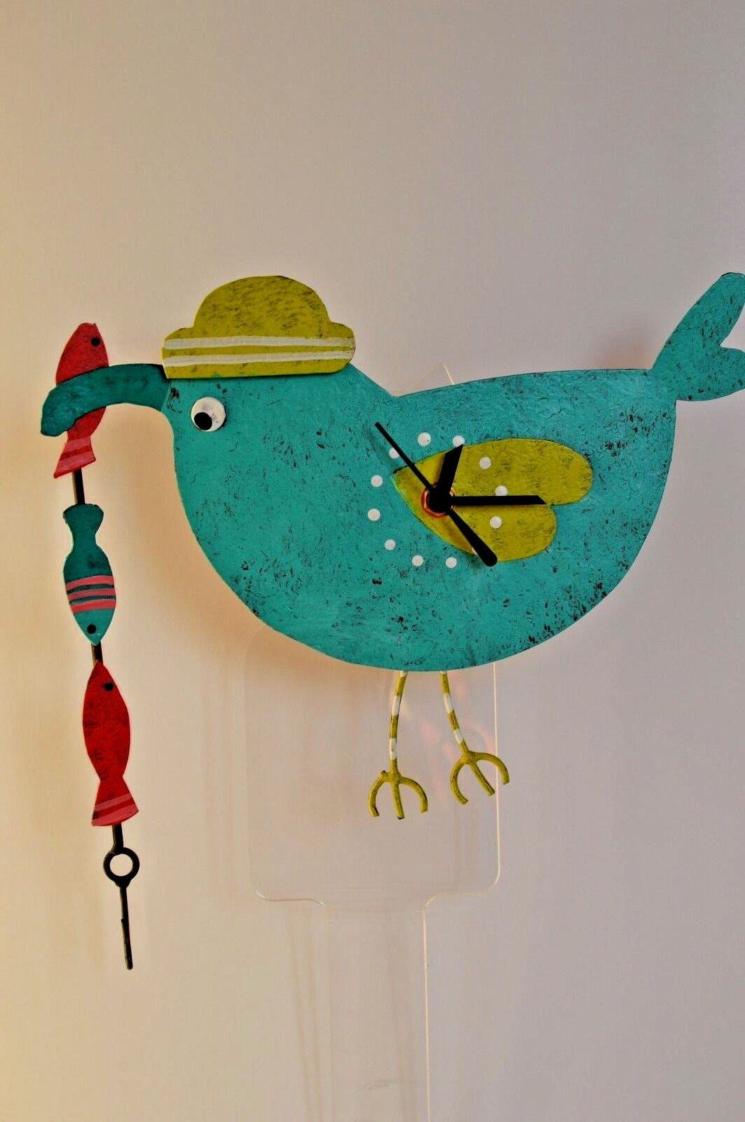 """RECYCLED METAL RUSTIC ART CLOCK """"Teal Fishing Heron """" CLOSE OUT ship in 48 hrs"""