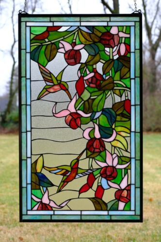 """20.25"""" x 34"""" Large Handcrafted stained glass window panel Hummingbirds & Flowers"""