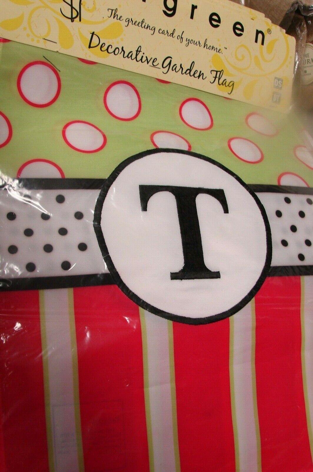 """Monogram Letter T Garden Flag evergreen Peppy 12.5"""" x 18"""""""