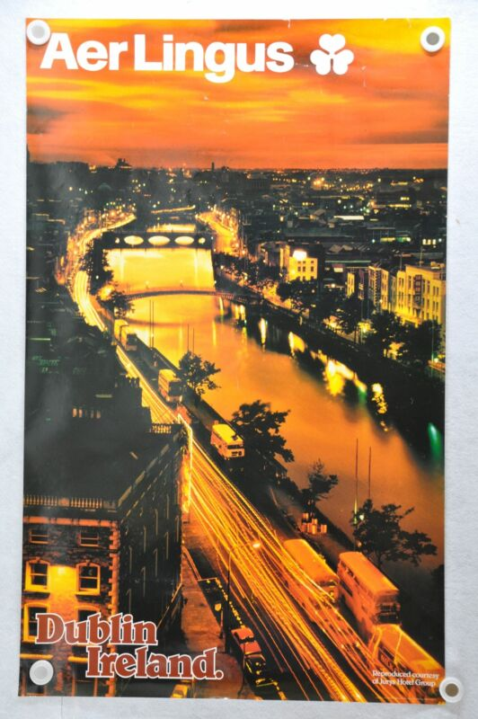 "Vintage 1980s Aer Lingus Airline Travel Poster ""Dublin Ireland"" 25 x 40"