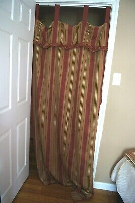 Waverly Amanda Sweetwater Red, Green, Gold Striped Tab Top Curtain -