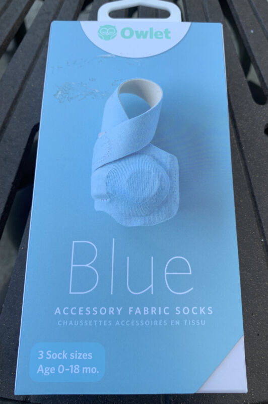Owlet Fabric Blue Socks Hypoallergenic Cotton 3 Sock Sizes 0-18 Months Gen 1 & 2