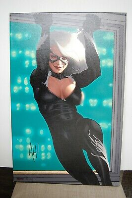 Adam Hughes SIGNED Black Cat Ltd. Edition Giclee Print 8/100 VERY RARE!! Sexy!!