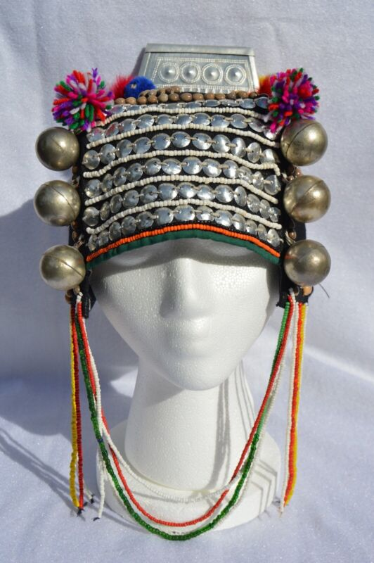 VINTAGE Authentic Akha Hill Tribe Headdress decor. From Northern Thailand.